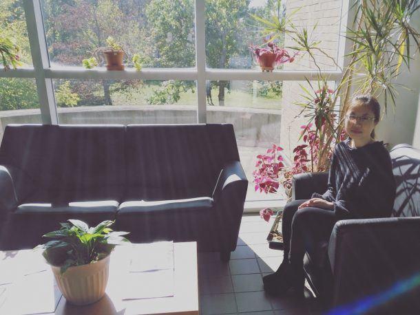 Elaine Chen sitting quiet space University of New Brunswick, Saint John Campus