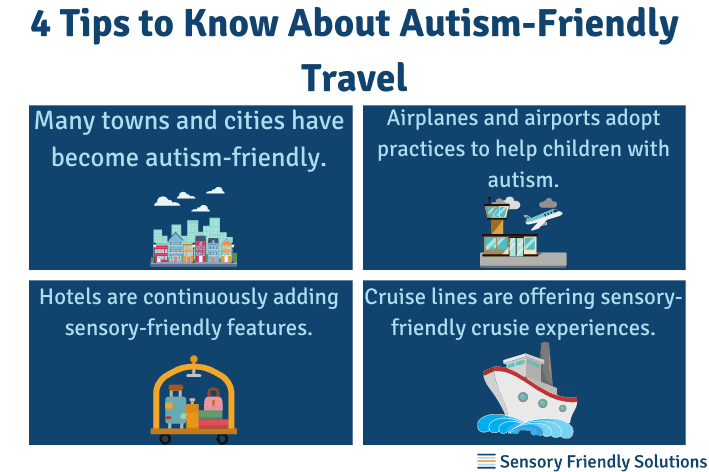 Infographic highlighting 4 tips about autism-friendly travel.