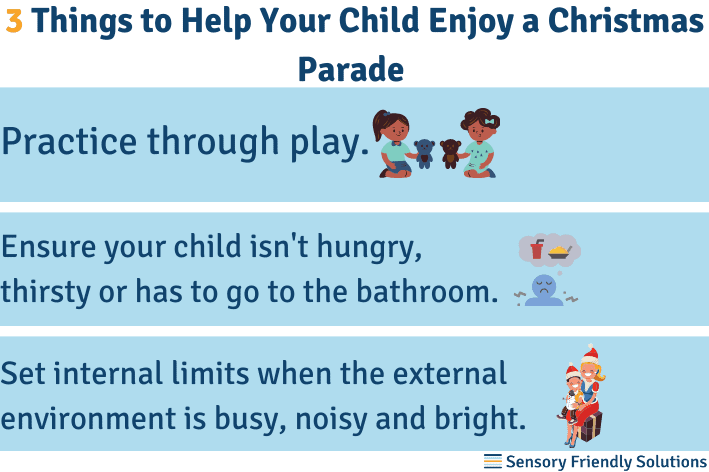 Infographic highlighting 3 ways to help your child during a Christmas parade.