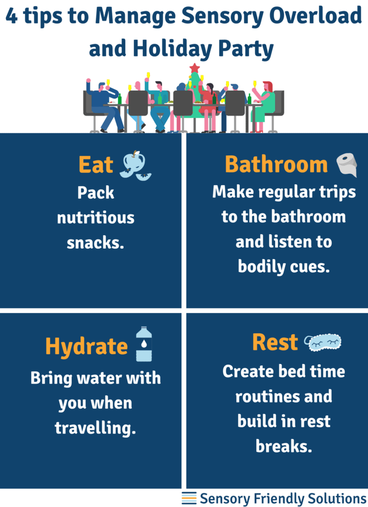 Infographic describing 4 strategies to manage sensory overload and holiday parties.