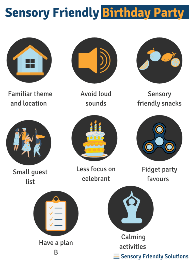 Infographic describing 8 tips to create sensory-friendly birthday parties.