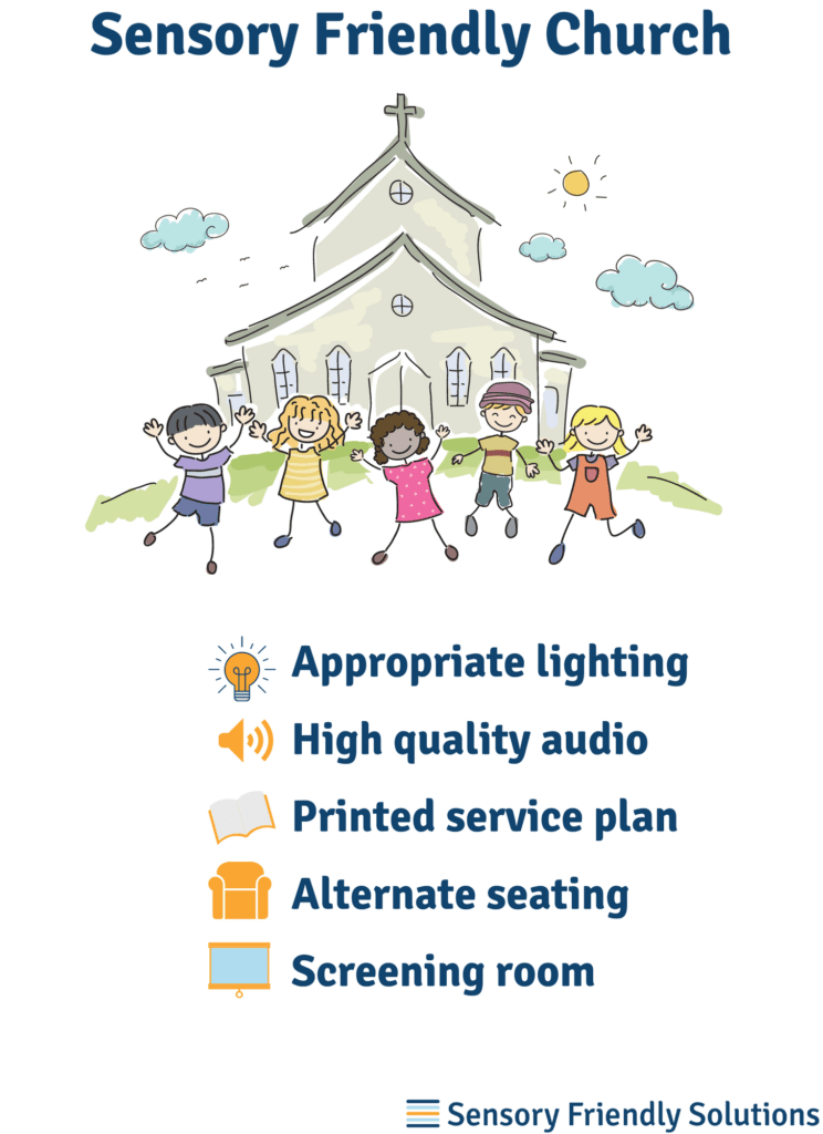 Infographic illustrating 5 tips to create a sensory-friendly church experience.