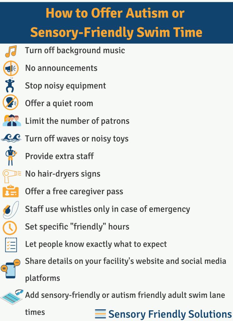 Infographic describing 14 tips to create sensory-friendly swim time.