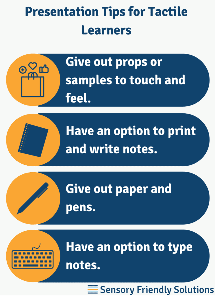 Infographic illustrating 4 tips to create a presentation for tactile learners.
