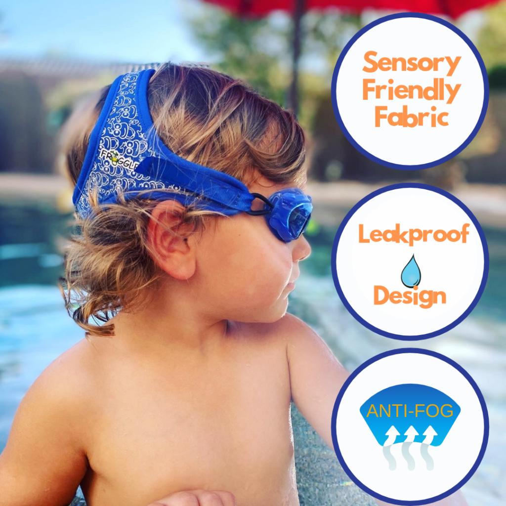 child wearing frogglez, sensory friendly swim goggles