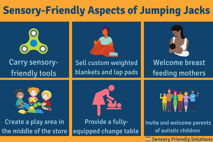 Infographic highlighting 6 ways that Jumping Jacks is sensory-friendly.