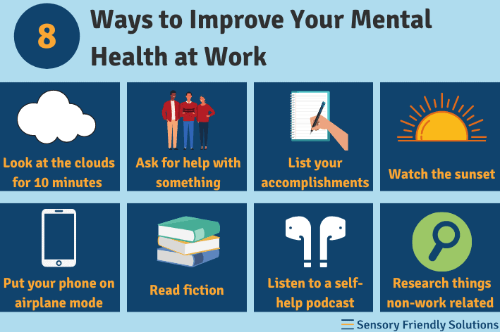 Infographic highlighting 8 ways to improve your mental health at work.