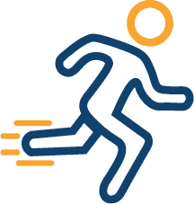 Icon of stick figure running.