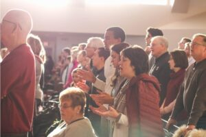 People singing at church.