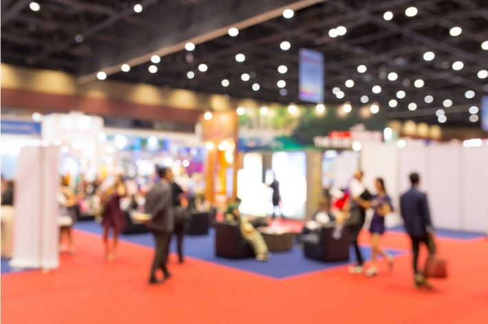 Blurred picture of a trade show.