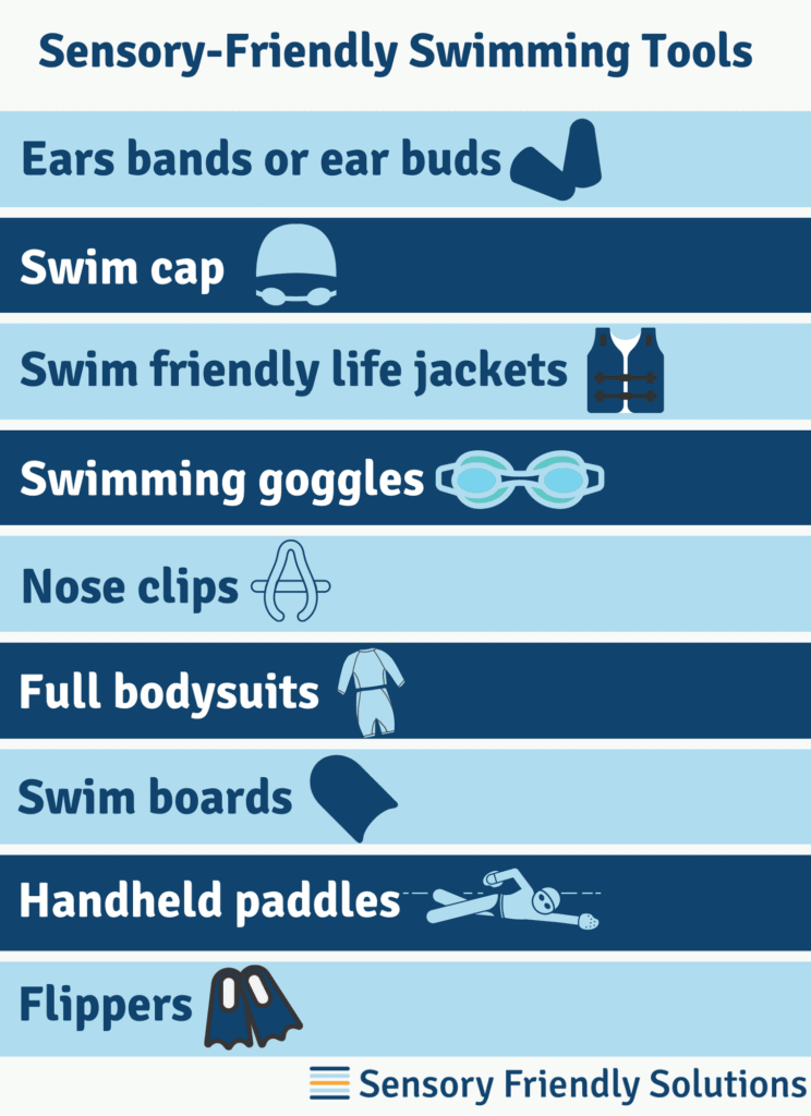 Graphic describing 9 tips to create a sensory-friendly swimming experience.
