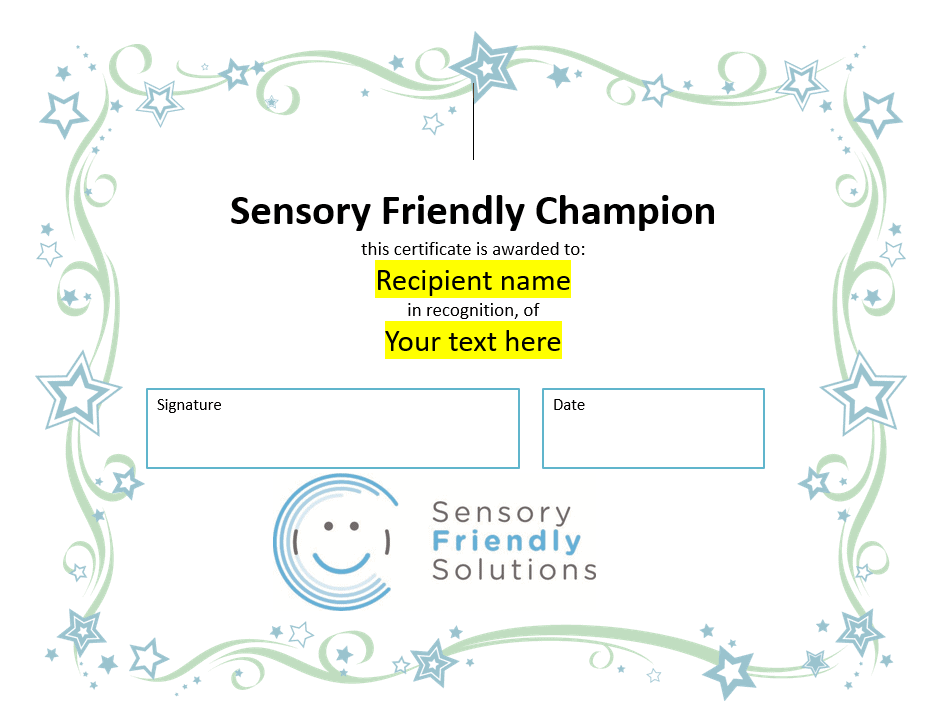 Sensory-Friendly Champion Certificate