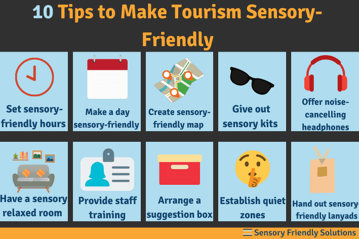 Infographic highlighting 10 ways to offer sensory-friendly tourism for traveling with autism.