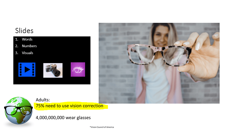 Picture of slide show and woman holding glasses.