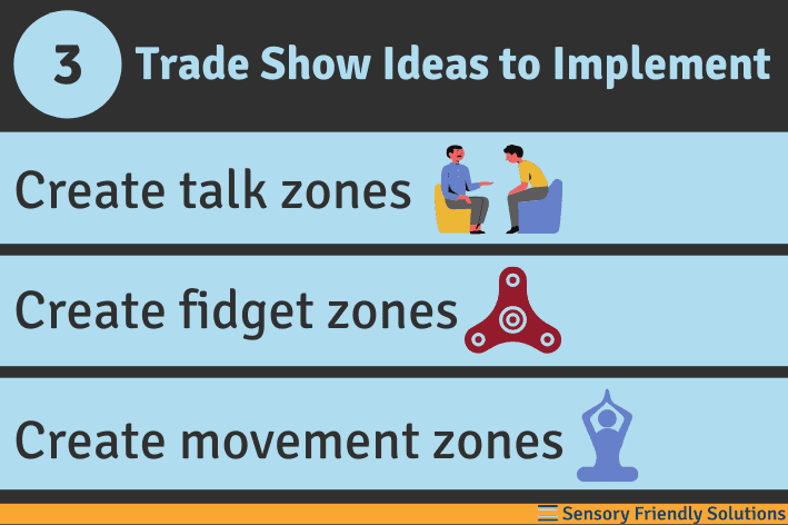 Infographic highlighting 3 ideas for sensory-friendly trade shows.