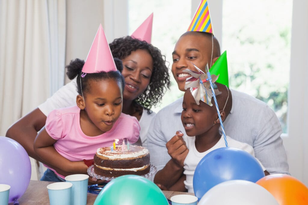 Family celebrating sensory friendly birthday together.