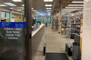 Inside of Cameron Library.
