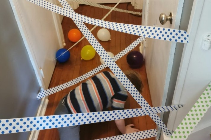 Child engaging in a sensory friendly obstacle course.