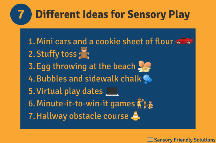 Infographic describing 7 different ways to practice sensory play.