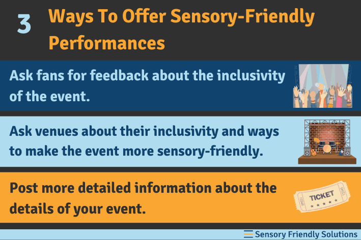 Infographic describing 3 tips to offer sensory-friendly performances.