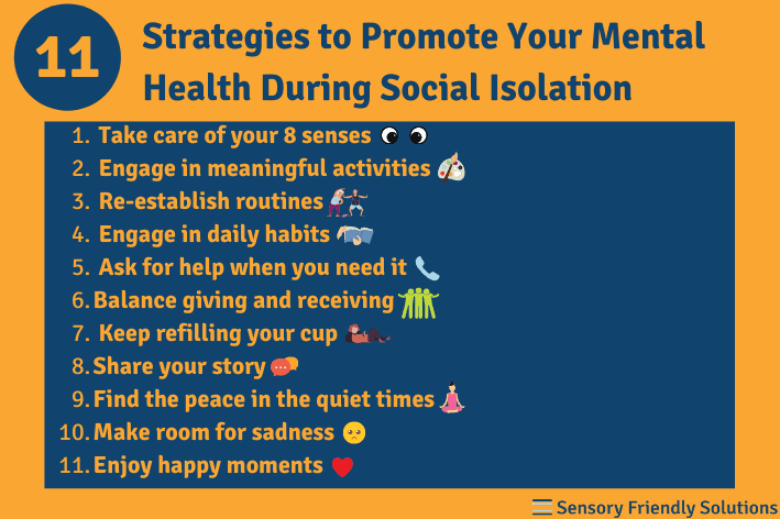 Infographic highlights 11 ways to promote your mental health during social isolation.