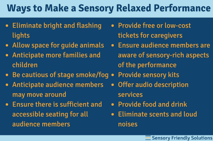 Infographic highlighting ways to make a sensory relaxed performance.