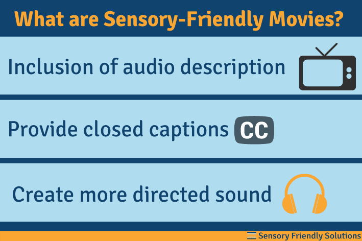 Infographic describing 3 things in sensory-friendly movies.