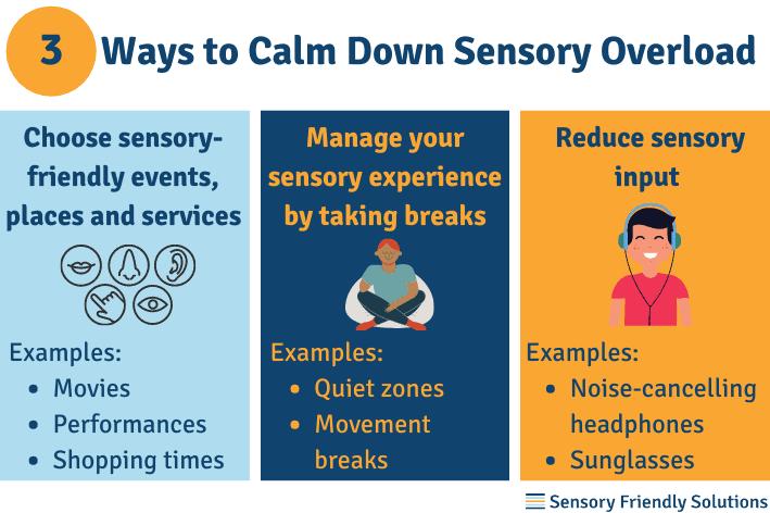 Infographic describing 3 ways to calm down sensory overload.