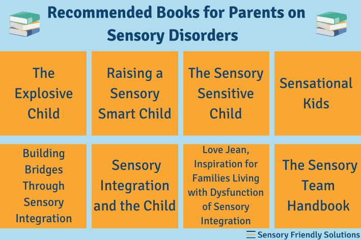 Infographic highlighting 8 book recommendations for parents on sensory disorders.