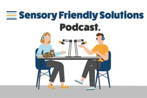 Graphic of a woman and man sitting at table podcasting.