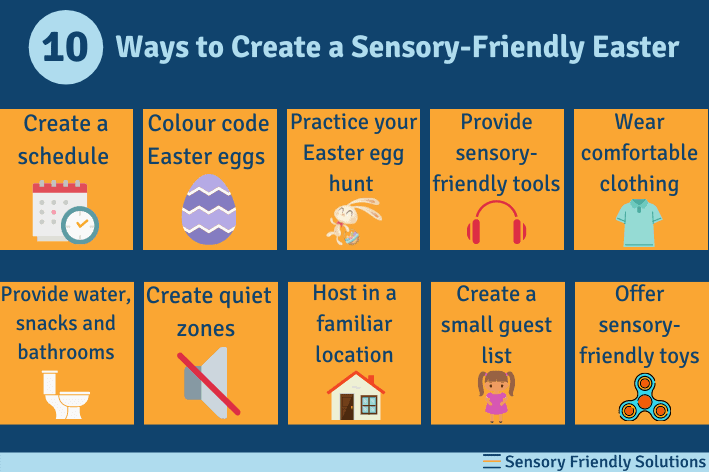 An infographic describing 10 ways to create a sensory-friendly Easter egg hunt.