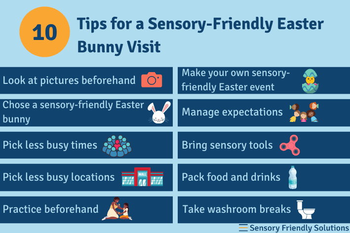 Infographic outlining 10 ways to have a sensory-friendly Easter bunny visit