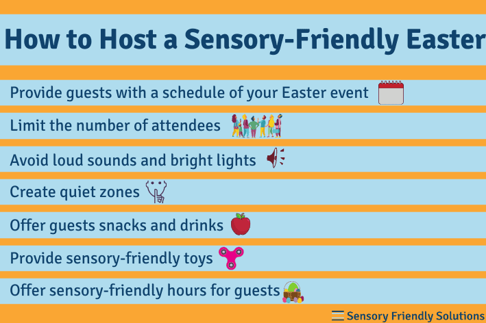 Infographic describing 7 ways you can make your Easter event sensory-friendly.