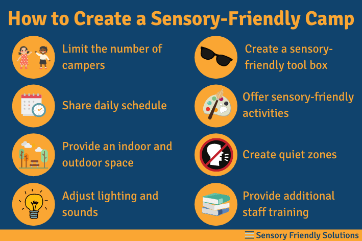 An infographic describing 8 strategies to create a sensory-friendly camp.