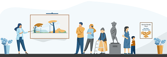 Illustration of people at a museum. Some people are wearing headphones, while others use a walker or have small children.