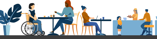 Illustration of a various people seated at a cafe. Some are sitting in stools or chairs. On person is in a wheelchair conversing with another person sitting at a table.