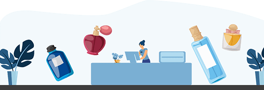 Illustration of a person working ata store counter. They are surounded by very large bottles of perfume.
