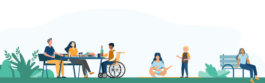 Illustration of people relaxing outside. Some are seated on the ground or on a bench. One person is in a wheelchair, conversing with others at a table.
