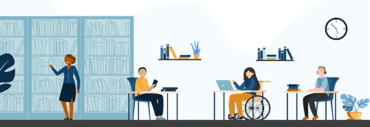 Illustration of people at a library. Some are seated at tables in chairs, while one person is in a wheelchair.