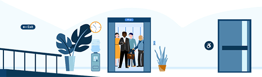 Illustration of people getting into an elevator. There is a wheelchair ramp to the left of the door.