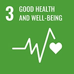 3: Good health and well-being with icon of heartbeat