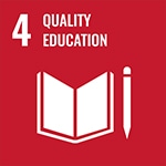 4: Quality education with icon of book and pencil