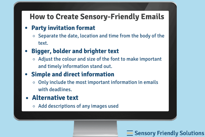 Infographic of 4 ways to create sensory-friendly emails.