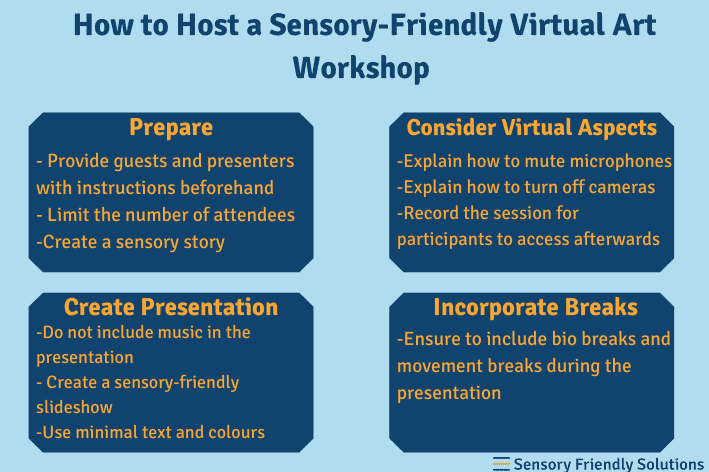 Infographic outlining 4 strategies to make a sensory-friendly art workshop.