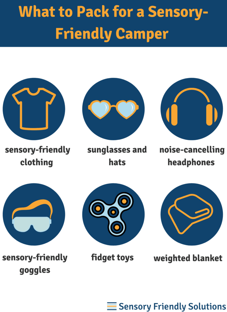 Infographic describing six things to pack for a sensory-friendly camper.