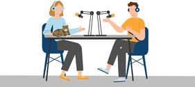Illustration of two people sitting at a table with headphones on, talking to each other with microphones.
