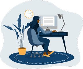 illustration of a person at computer desk filling out a quiz.