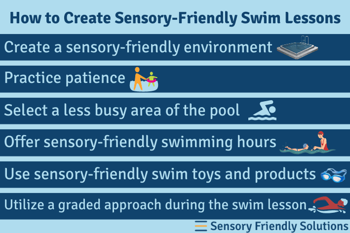 An infographic listing 6 ways to create sensory-friendly swim lessons.