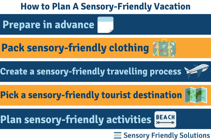 Infographic explaining 5 ways you can make a sensory-friendly vacation