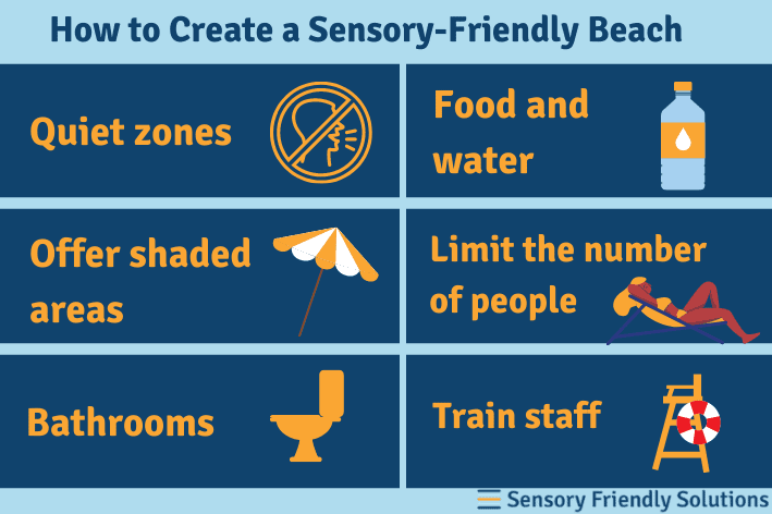 Infographic of 6 ways to create a sensory-friendly beach.